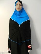 Blue Black Large One Piece Prayer Muslim Slip-On Hijab Head Cover Scarf Islam