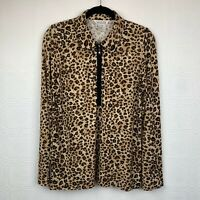 Exclusively Misook Leopard 1/4 Zip Top Small Long Sleeve Brown Print Womens A114