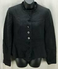 Emporio Armani Jacket Medium 10 Black High Neck Button Down Long Sleeve 5486