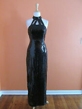 New Vintage Nadine Size 3/4 Black Sequin Halter Full Length Pageant Formal Dress
