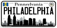 Philadelphia Pennsylvania B&W Novelty Car Tag License Plate