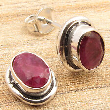 925 Silver Plated RED Simulated RUBY Gems, 1 cm Little Stud Earrings PRETTY