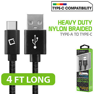 Cellet 4ft (1.2m) Heavy Duty Nylon Braided USB Type C to USB Type A Data Cable