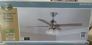 """NEW HAMPTON BAY Malone 54"""" LED Brushed Nickel Ceiling Fan with Light Kit"""