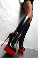 Womens Platform High heel Nightclub Patent Leather Knee High Boots Fashion Shoes