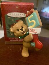 2000 Hallmark Child'S 5th Fifth Christmas Ornament Baby Bear Age Collection