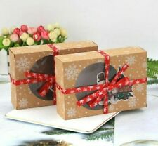 Christmas Cookie Gift Boxes With Clear Window 12pcs Set Paperboard Xmas Ornament