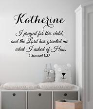 I Prayed For This Child Wall Decal Quote Girl Name Decal Nursery Decor Art KI158