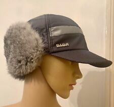 Christian Dior Grey Rabbit Fur Unisex Trapper Hat Size T4 Age 4-5 Fits Adult