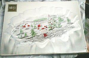 """Mikasa Holiday Christmas Large 17"""" Oval  Platter Girl Christmas Tree Germany"""