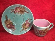 Antique Majolica Flowers and Leaves Cup & Saucer c.1800's, em266
