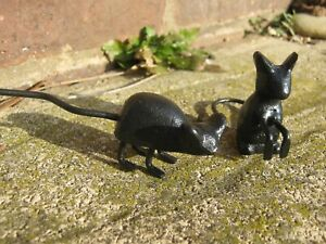 Pair Of Little Rustic Cute Mice Made From Cast Iron Ideal Garden/House Ornaments