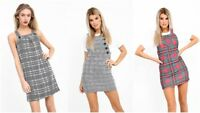 New Chic Ladies Check Tartan Pinafore Skater A Line Women Dungaree Short Dress