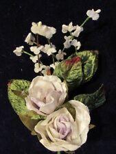 Millinery Flower Velvet Rose + Forget Me Not White + Lilac Trim for Hat Y241