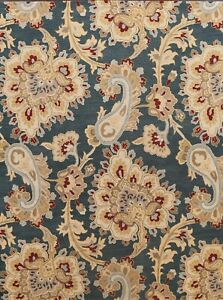 Paisley Floral Navy Blue Modern Oriental Area Rug Hand-Tufted Wool 8'x10' Carpet