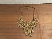 Vintage Gold-tone Light Pink Glass Bead Bib Statement Necklace #23