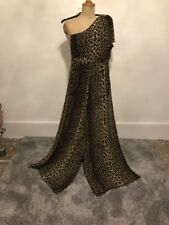 One Shoulder Leopard Print  Catsuit Flare Trousers Size 10 Brown Black Nwt