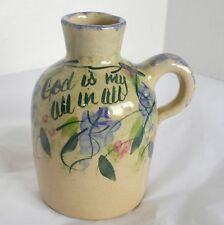 Yesteryears Jug Hand Painted Art Pottery USA Floral Vase Inspirational God Is My