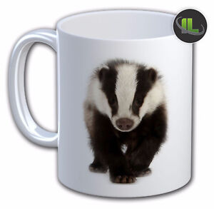 Personalised  BADGER ANIMAL MUG Cup. Personalise with Name and Text- IL-6239
