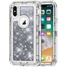iPhone X XS XR 11 Pro Max 6 7 8 Plus Bling Liquid Glitter Defender Case Cover