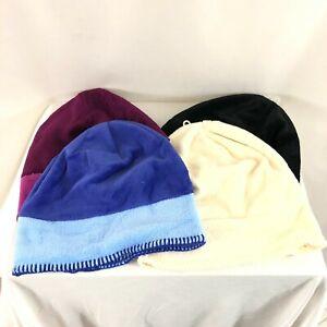Lot of 4 White Sierra Fleece Beanies Blue Purple Black Ivory One Size Winter