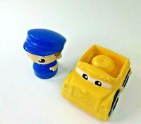 Mega Bloks Yellow Car & Driver Figure - Builder Blocks Toy Lot