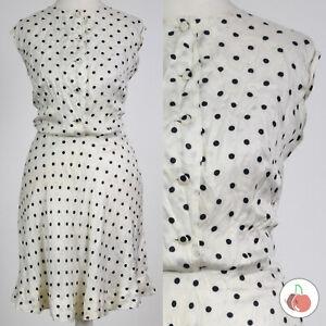 WHITE & BLACK POLKA DOT 1960s VINTAGE MOD GOGO MINI DRESS 14