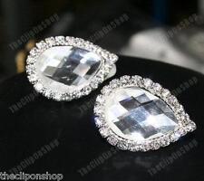Clip en grande en forma de lágrima Cristal pendientes Facetada De Cristal Imitación Plata Pl Brillante