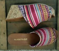 NEW VERY RARE RAMPAGE QUICK QUIZZY PLATFORM WEDGE SANDALS IN MULTI COLOR 8.5