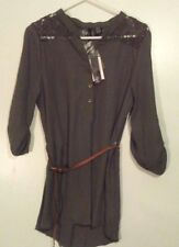 Ultra Flirt NWT Olive Green Belted Tunic 3/4 Sleeve Large Lace Insert Hi-Lo [w]