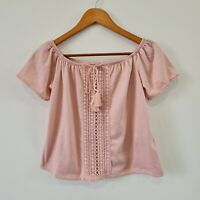 H&M Divided Dusty Pink Lace Top Front Tie Short Sleeve Blouse Size S