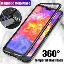 Magnético Adsorción Caja de Metal para Huawei P20 pro Lujo Cristal Templado