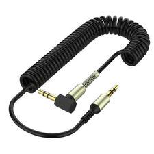 Black 3.5mm Mini Jack to Jack Coiled Male Aux Cable Audio Auxiliary Lead PC Car