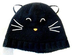 CARTER'S black knit fleece Halloween Kitty Cat ears/face Baby beanie hat 6 3-9 m
