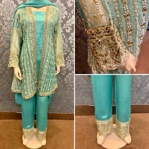 Pakistani Sea Green Organza gown style Suit, Fancy Threadwork and Sequins,Medium