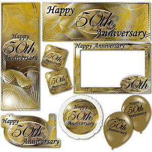 Happy 50th Gold Golden Anniversary Banners Decorations Balloons Party Supplies
