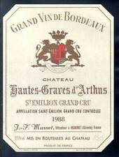 Étiquette château HAUTES-GRAVES d' ARTHUS. 1979. SAINT-EMILION - GRAND CRU