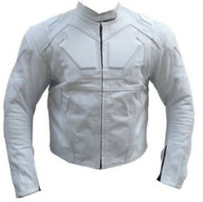 Tom Cruise Oblivion Movie Full White Motorcycle Padded Cowhide Leather Jacket