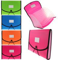 13 Pocket Portable Plastic A4 Accordion Expanding File Folder / Document Bag