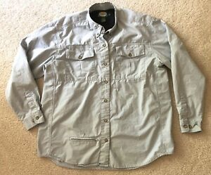 Women's Cabbelas Vented Fishing Long Sleeve Button Front Gray Shirt Size Large
