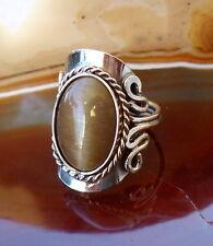 Ring Alpaka Silber Cat Eye Katzenauge dunkel braun Ethno Inka Maya Stil 4