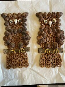 Set Of 2 Vintage Folk Art Walnut Nut Wise Wisdom Owl Owls Plague Wall Hanging