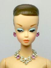 Barbie Doll Repro Vintage Handmade Purple Necklace Earrings Jewelry Set NE100074