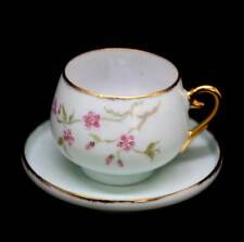 Vintage sweet hand-painted cherry blossom geisha lithopane small cup and saucer