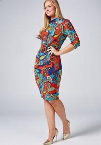 Jolie Moi Elsie High Neck Dress Red Multi Size 14 BNWT NEW