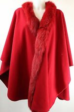 J Percy For Marvin Richards Red Fur Trimmed Shawl Cape Jacket One Size