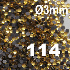 500 Strass thermocollant RHINESTONE hotfix Ø 3 mm ss10 GOLD N° 114