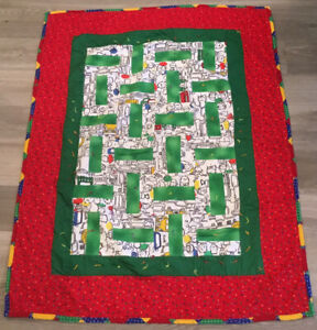 Patchwork Crib Quilt, Rectangle Logs, Children's Prints, Star Prints, Red, Green