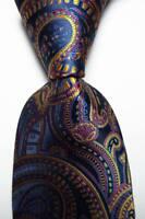 New Classic Paisley Red Gold  Dark Blue JACQUARD WOVEN  Silk Men's Tie Necktie