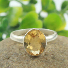 Solid 925 Sterling Silver Natural Citrine Handmade Jewelry Ring Size 6 IN-1792